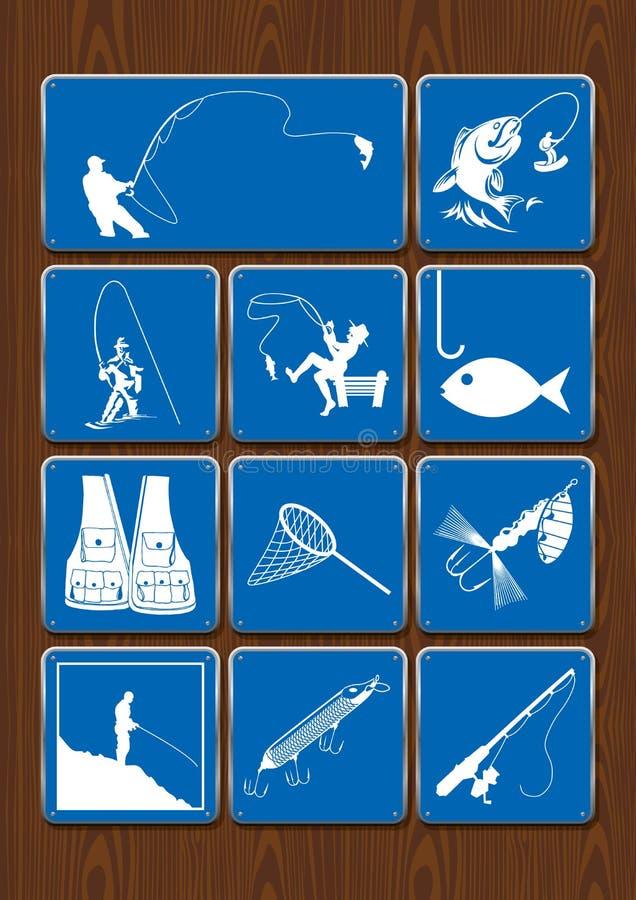 Uppsättning av symboler av utomhus- aktiviteter: fiske fiskaren, fisken, metspöet, metkroken som är netto, västsymboler i blått,  stock illustrationer
