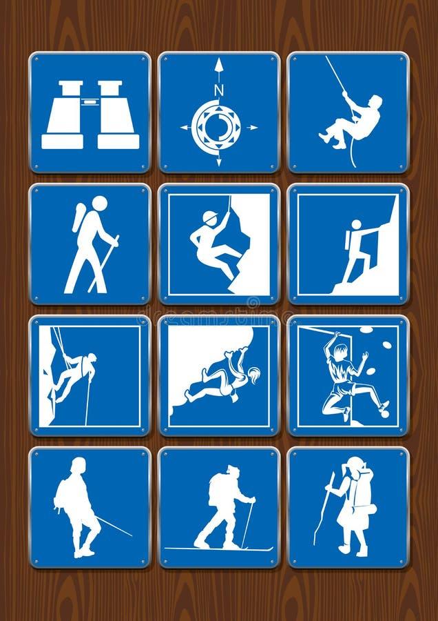 Uppsättning av symboler av utomhus- aktiviteter: kikare kompass och att fotvandra och att klättra Symboler i blåttfärg på träbakg vektor illustrationer