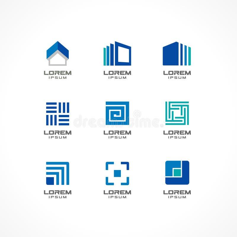 Uppsättning av symbolsdesignbeståndsdelar Abstrakta logoidéer för affärsföretag Byggnad konstruktion, hus, anslutning stock illustrationer