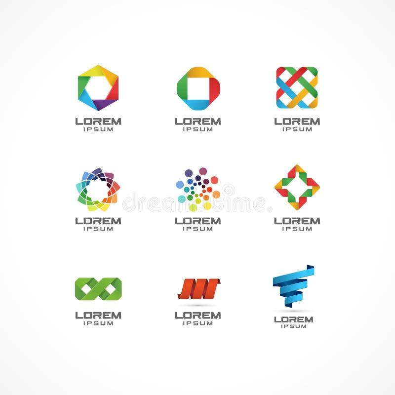 Uppsättning av symbolsdesignbeståndsdelar Abstrakta logoidéer för affärsföretag Internet kommunikation, teknologi som är geometri vektor illustrationer