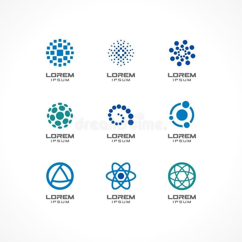 Uppsättning av symbolsdesignbeståndsdelar Abstrakta logoidéer för affärsföretag, kommunikation, teknologi, vetenskap och läkarund royaltyfri illustrationer