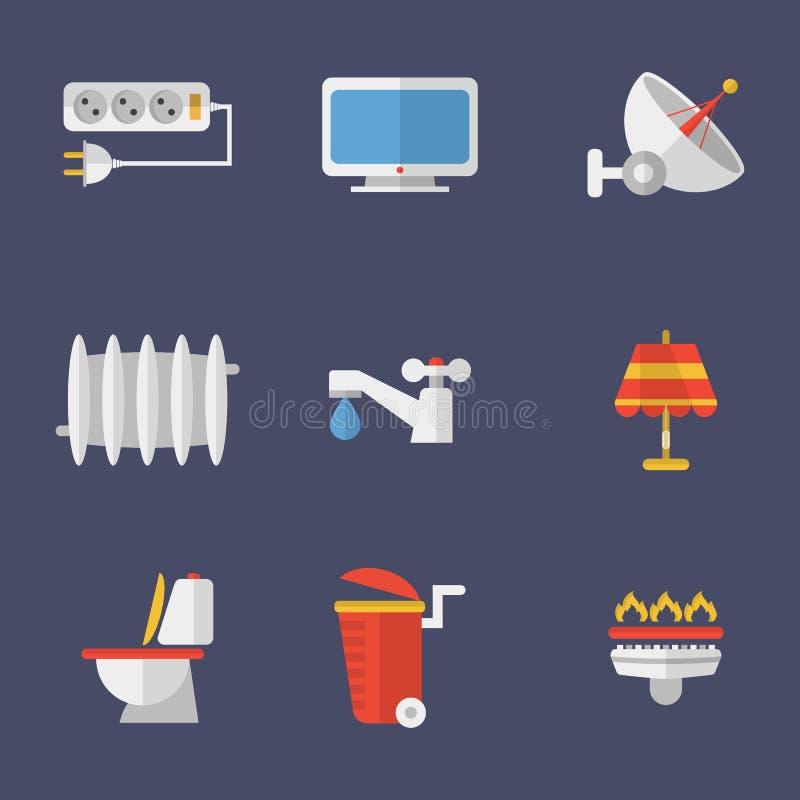 Uppsättning av symbolselektricitet, uppvärmning, vatten och annat royaltyfri illustrationer