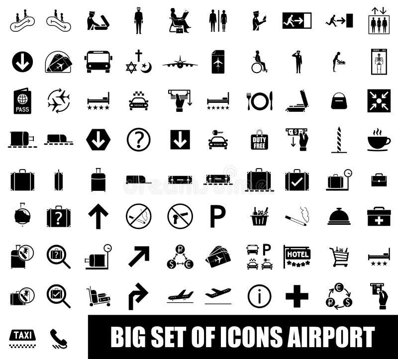 Uppsättning av symbolsflygplatsen vektor illustrationer