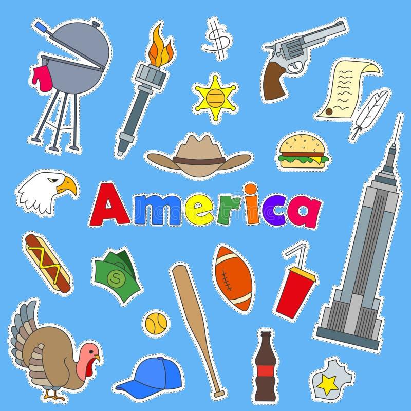 Uppsättning av symbolslappar på ämnet av loppet till landet av Amerika färgsymboler på blå bakgrund och inskriften Americ stock illustrationer