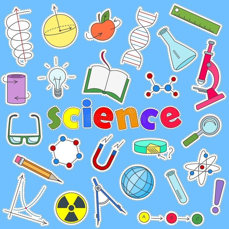 Uppsättning av symbolslappar på ämnet av utbildning och vetenskap, de kulöra symbolerna på en blå bakgrund och inskriften av scie royaltyfri illustrationer