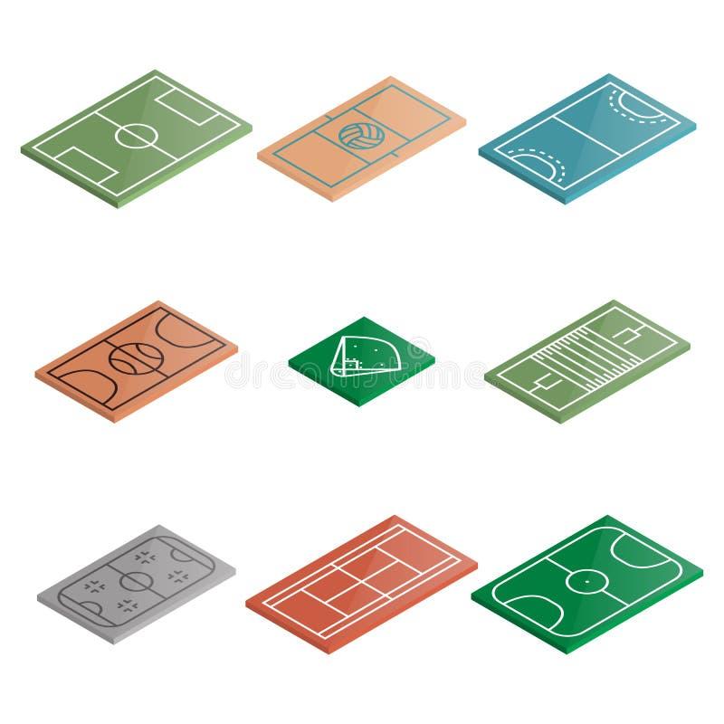 Uppsättning av symbolslekplatser i isometriskt, vektorillustration stock illustrationer