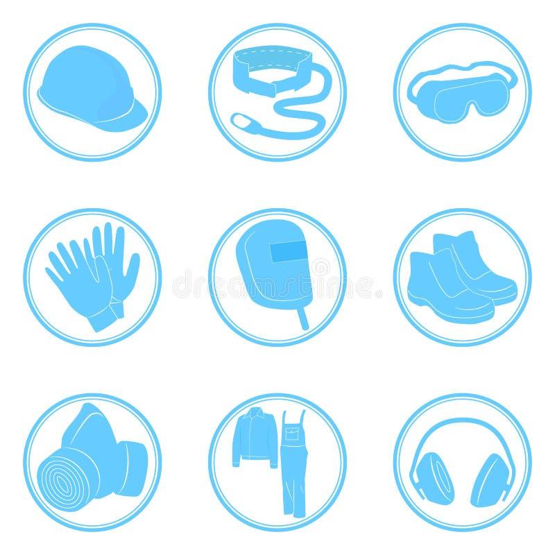 Uppsättning av symbolspersonlig skyddsutrustning vektor illustrationer