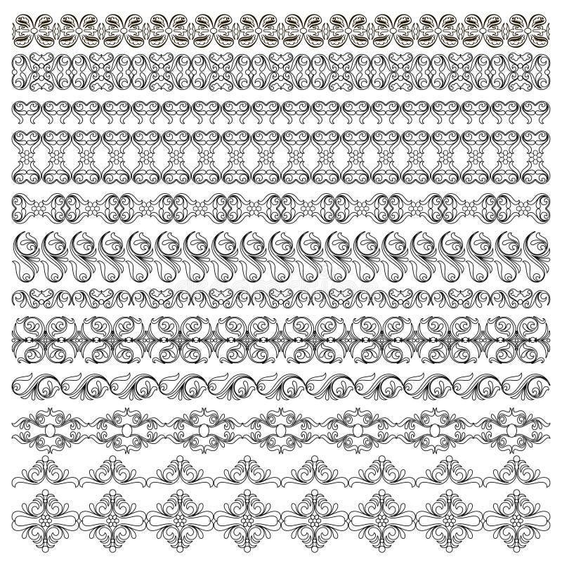 uppsättning av symmetrisk svart isola för modellgränsväxt stock illustrationer