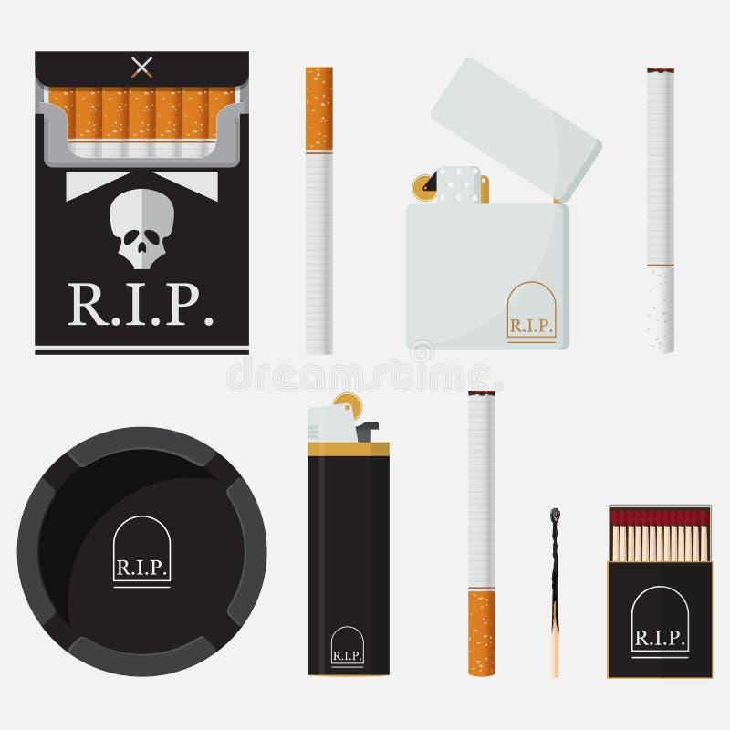 Uppsättning av tändare, cigaretter, matchen och askfatet i plan design stock illustrationer