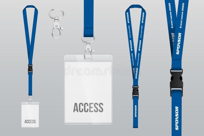 Uppsättning av taljerepet och emblemet Metallstycke Plast- emblem mall stock illustrationer