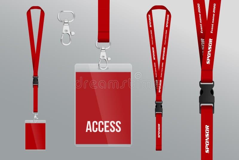 Uppsättning av taljerepet och emblemet Metallstycke Plast- emblem Mall f vektor illustrationer
