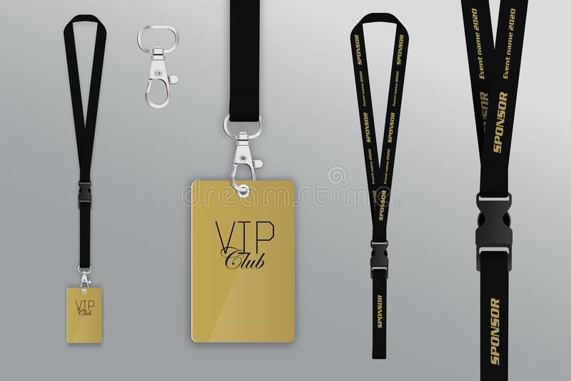 Uppsättning av taljerepet och emblemet Passerande för designexempelvip Emblemkreditering royaltyfri illustrationer