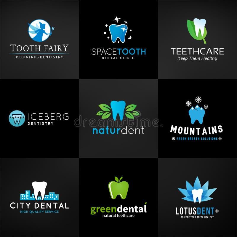 Uppsättning av tand- logoer Vektortanddesigner tänder vektor illustrationer