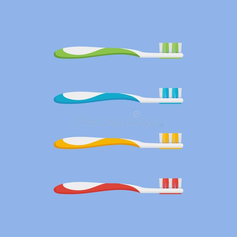 Uppsättning av tandborsten i olika färger Plan stilsymbol också vektor för coreldrawillustration stock illustrationer