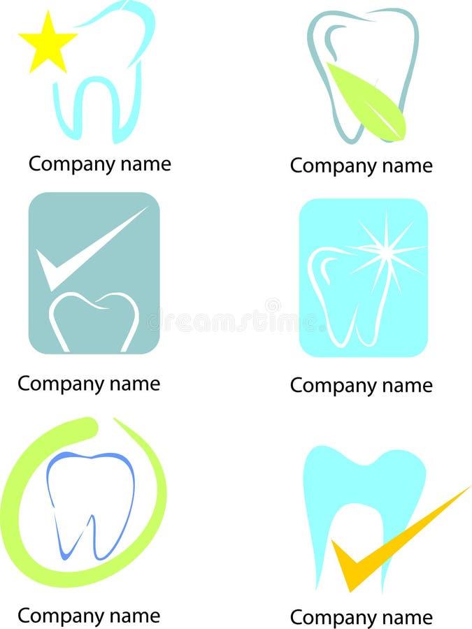 Uppsättning av tandsymboler och beståndsdelar vektor illustrationer