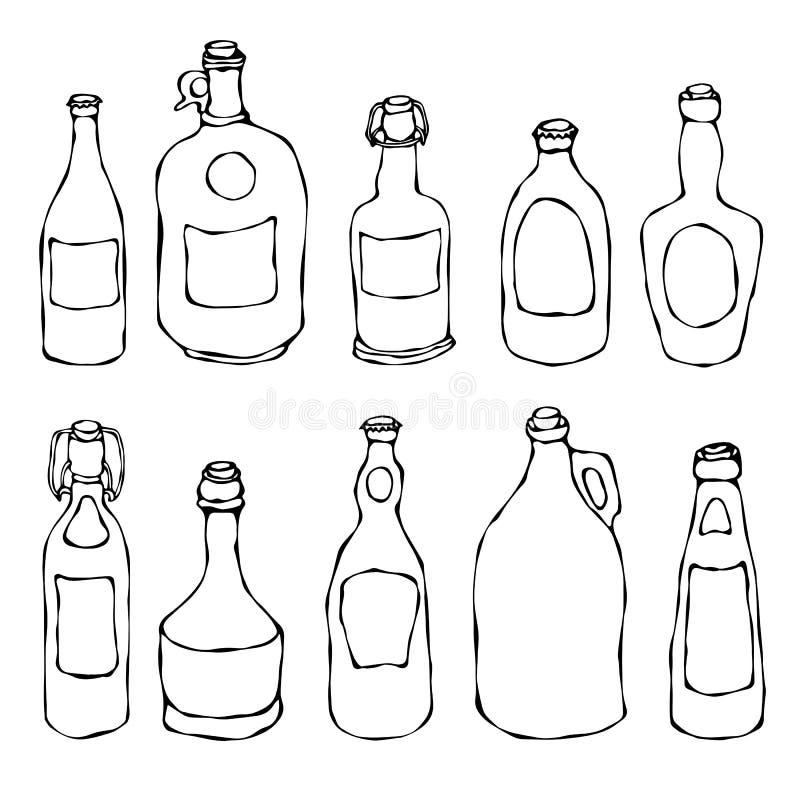 Uppsättning av tappningöl- och vinrankaflaskor bakgrund isolerad white Den drog realistiska handen för klottertecknad filmstil sk royaltyfri illustrationer