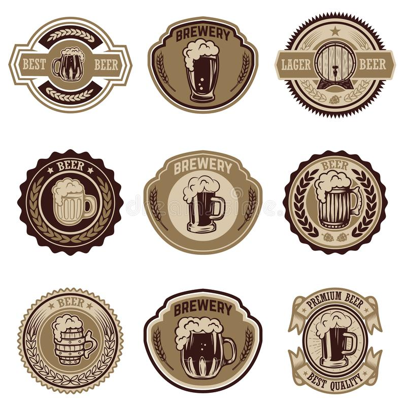 Uppsättning av tappningöletiketter Planlägg beståndsdelar för logoen, etiketten, emblemet, tecknet, meny vektor illustrationer