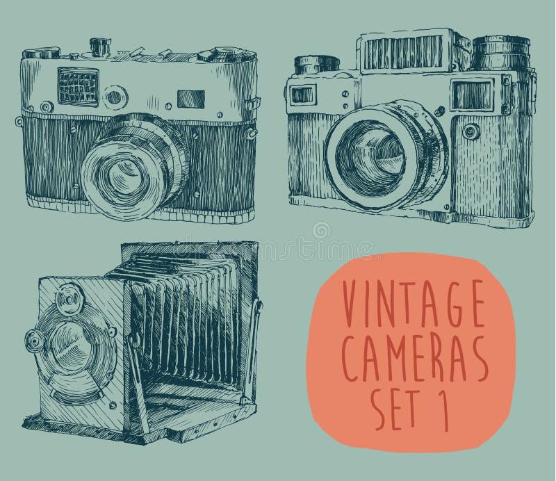 Uppsättning av tappning, Retro gammal kamera, dragen hand stock illustrationer