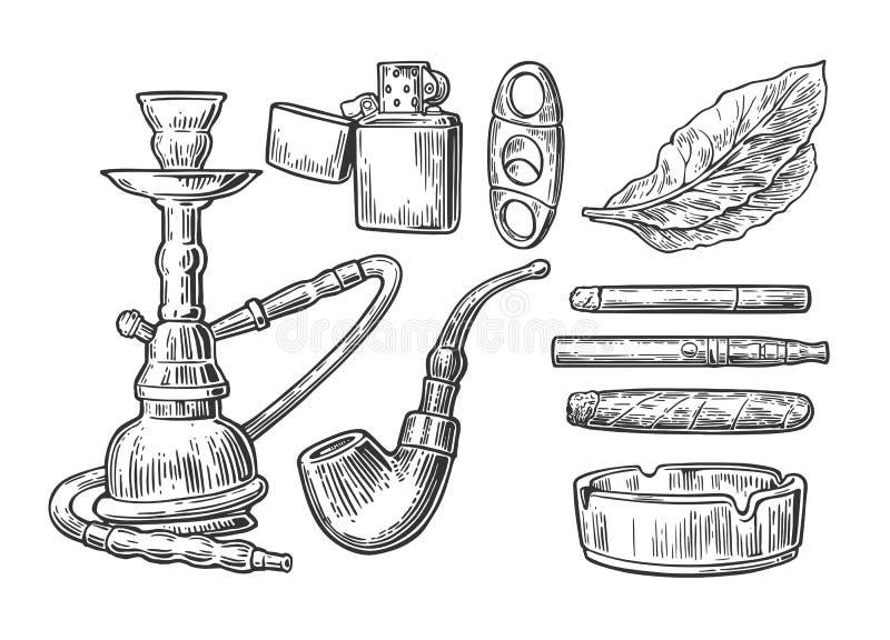 Uppsättning av tappning som röker tobakbeståndsdelar Monokrom stil Vattenpipa tändare, cigarett, cigarr, askfat, rör, blad, munst vektor illustrationer