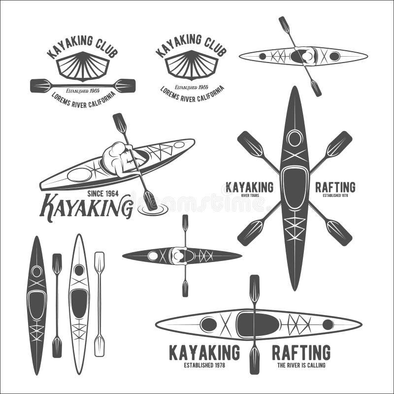 Uppsättning av tappning som rafting etiketter stock illustrationer