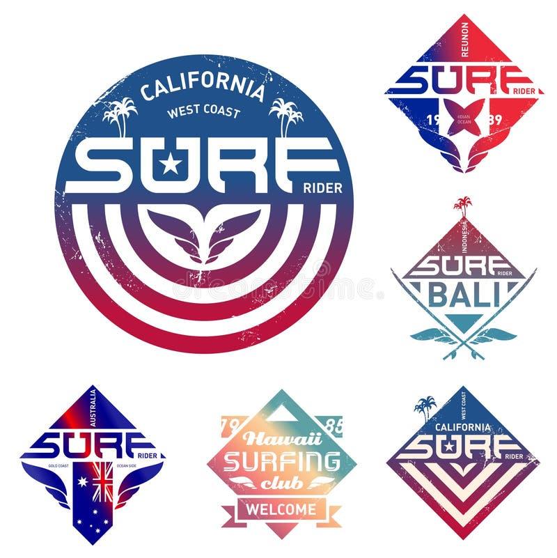 Uppsättning av tappning som surfar logo med lutningar Vektordesign för te vektor illustrationer