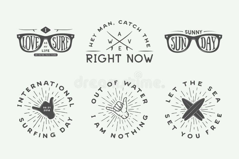 Uppsättning av tappning som surfar logoer, affischer, tryck, slogan stock illustrationer