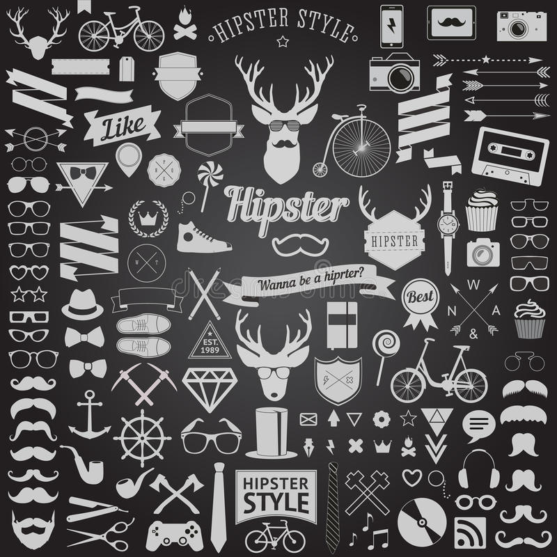 Uppsättning av tappning utformade designHipstersymboler Vektortecken och symbolmallar royaltyfri illustrationer