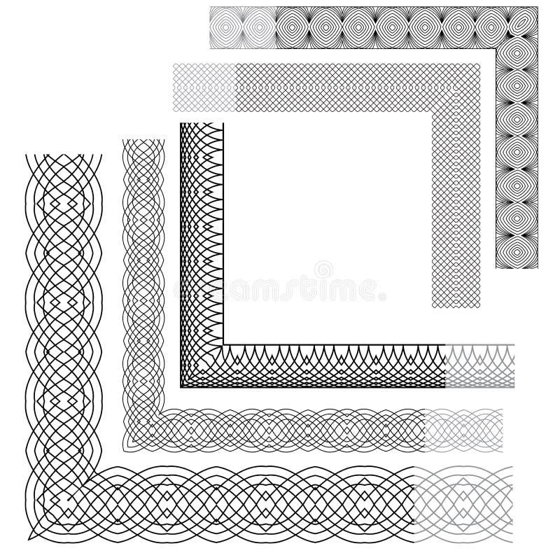 Uppsättning av tappningbakgrunder, hörn, Guillocheprydnad vektor illustrationer