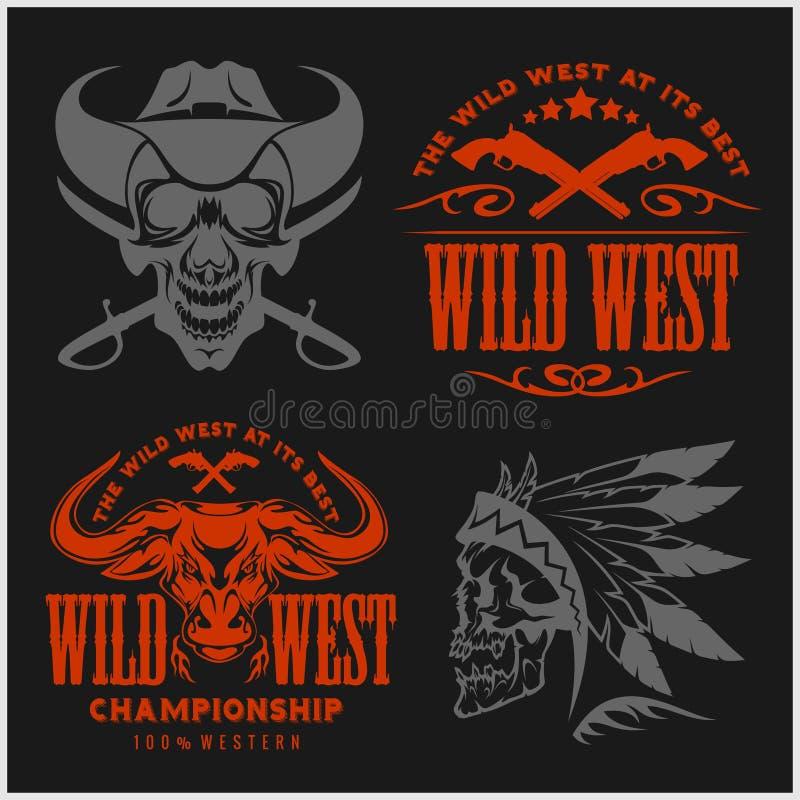 Uppsättning av tappningcowboyemblem, etiketter, emblem, logoer och planlagda beståndsdelar Löst västra tema royaltyfri illustrationer