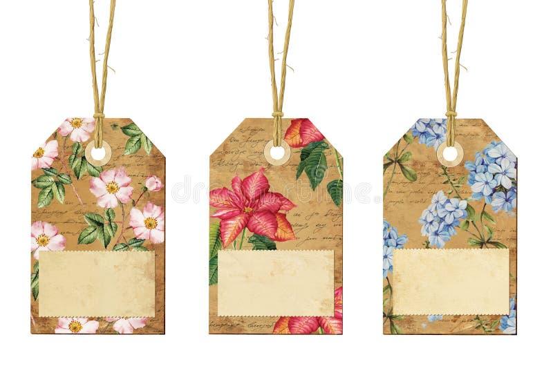 Uppsättning av tappningetiketter med blommor