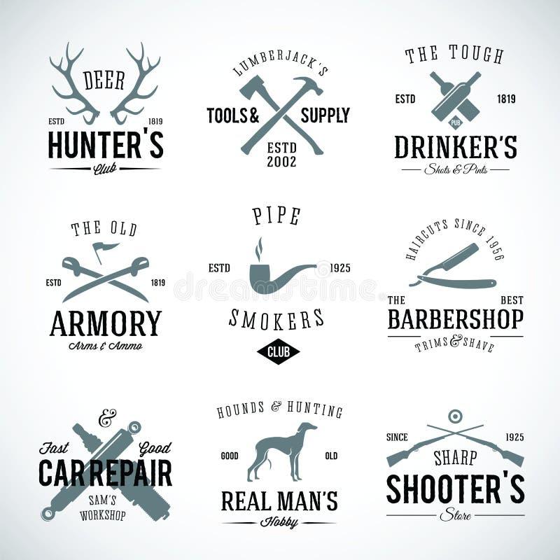 Uppsättning av tappningetiketter med Retro typografi för royaltyfri illustrationer