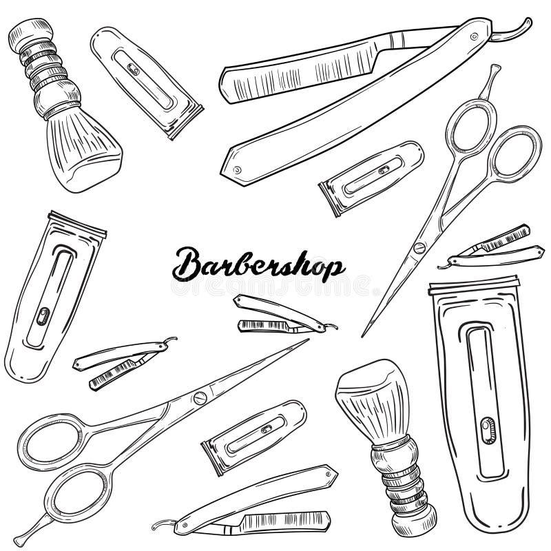 Uppsättning av tappningfrisersalongbeståndsdelar stock illustrationer