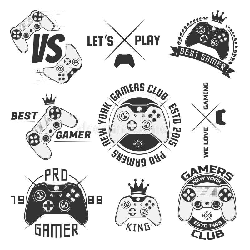 Uppsättning av tappninggamepademblem, etiketter, emblem, logoer och designbeståndsdelar Monokrom stil stock illustrationer