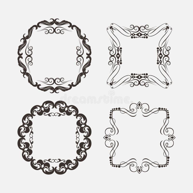 Uppsättning av tappninggarneringbeståndsdelar Calligraphic prydnader och ramar för krusidullar royaltyfri illustrationer