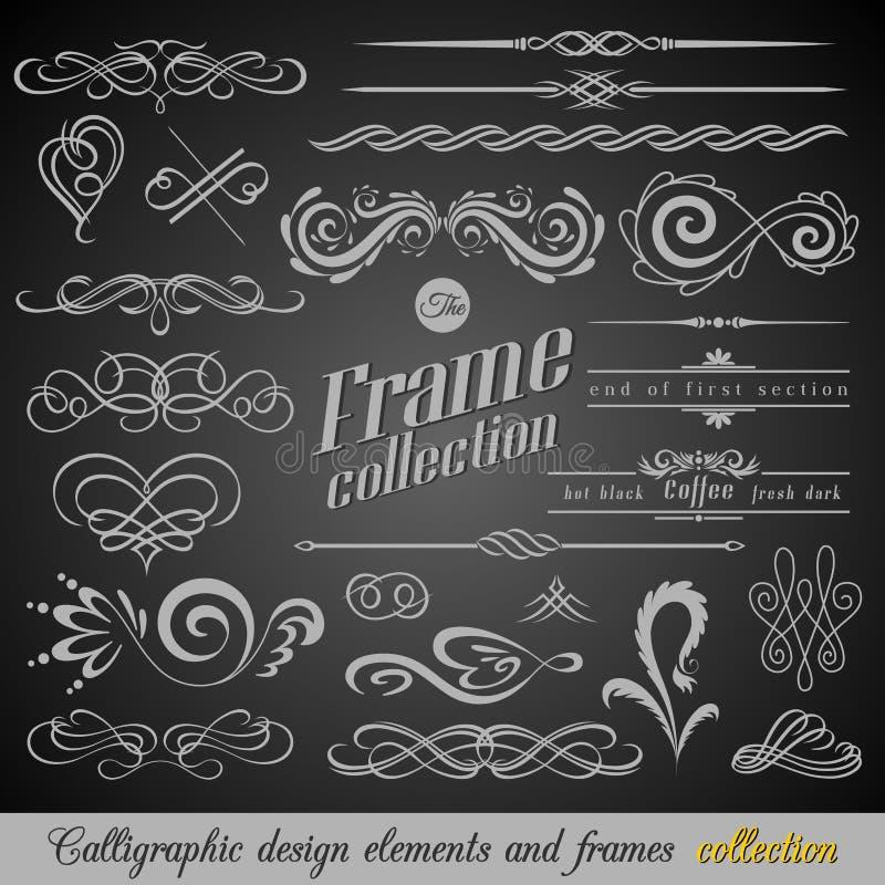 Uppsättning av tappninggarneringbeståndsdelar Calligraphic prydnader och ramar för krusidullar med stället för din text retro sti stock illustrationer
