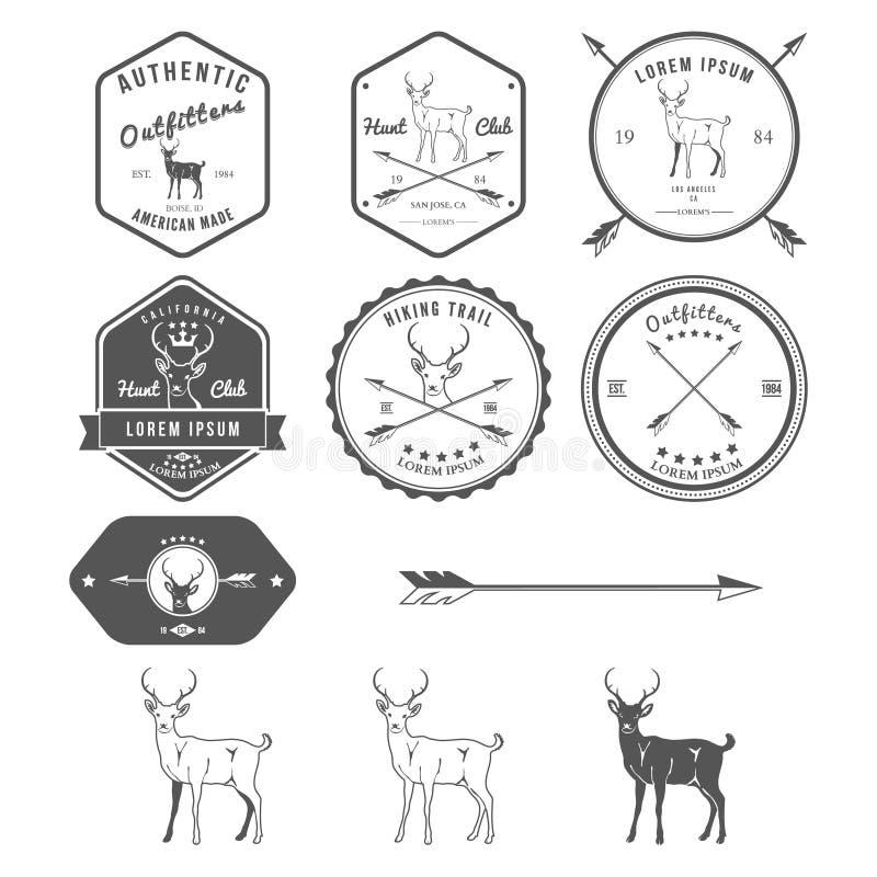 Uppsättning av tappninghjortsymboler, emblem och etiketter stock illustrationer