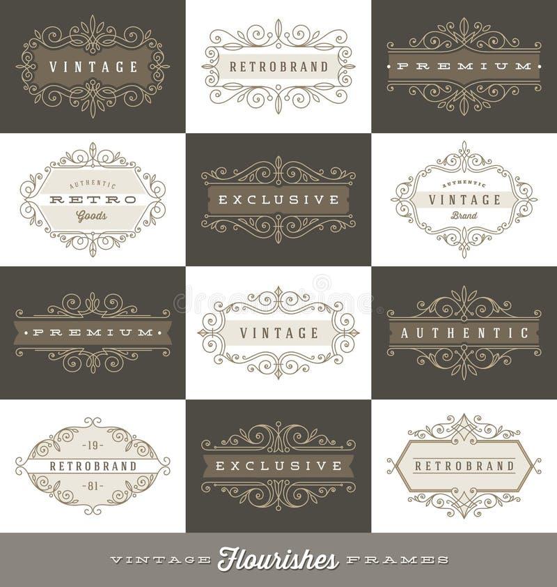 Uppsättning av tappninglogomallen med calligraphic ramar för krusidullar royaltyfri illustrationer