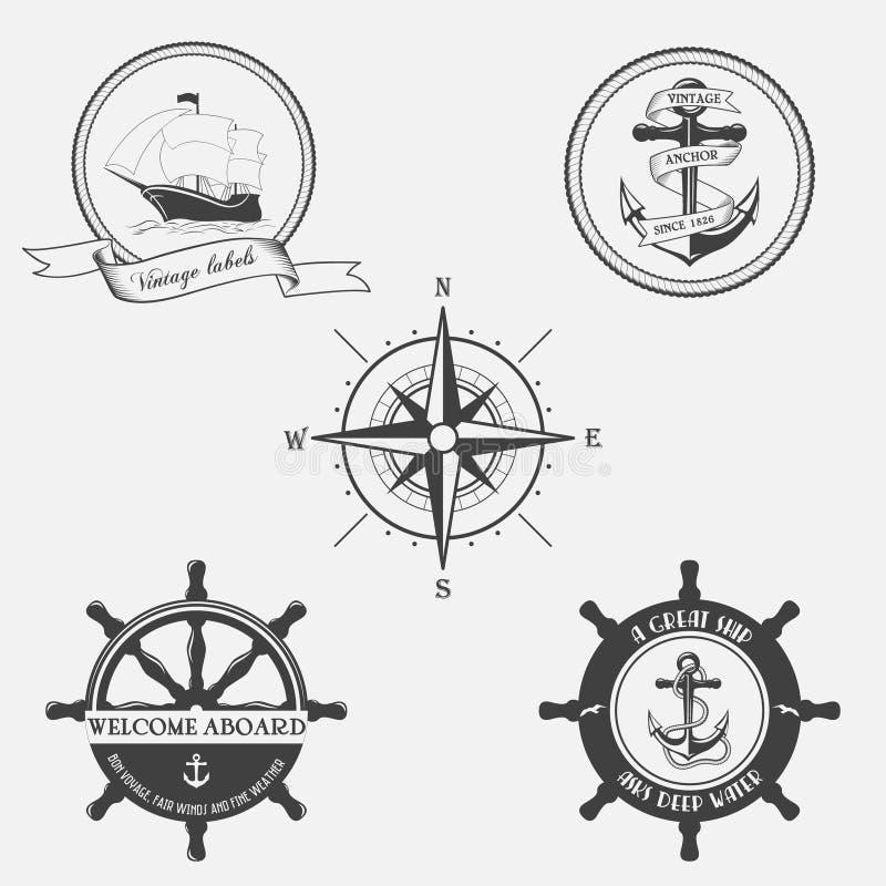 Uppsättning av tappningmodellen på nautiskt tema Symboler, etiketter och designbeståndsdelar vektor illustrationer