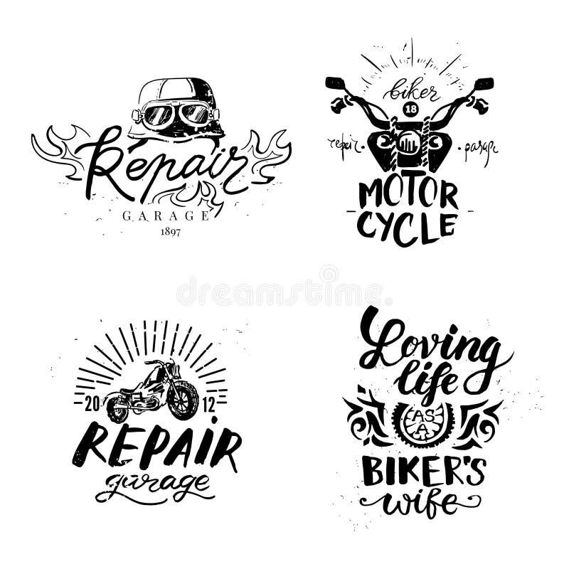 Uppsättning av tappningmotorcykelemblem, etiketter, emblem, royaltyfri illustrationer