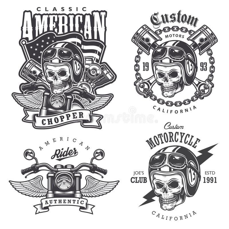 Uppsättning av tappningmotorcykelt-skjorta tryck stock illustrationer