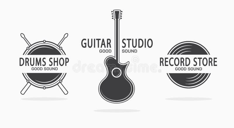 Uppsättning av tappningmusikinstrumentlogoer vektor vektor illustrationer