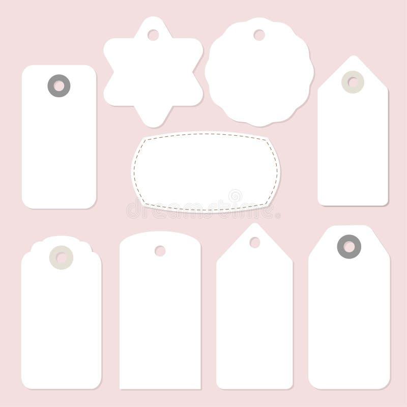 Uppsättning av tappningramar, gåva och prislappar och etiketter för tomt papper Isolerade vektorobjekt royaltyfri illustrationer
