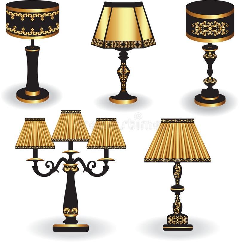 Uppsättning av tappningtabelllampan med lyxiga prydnader stock illustrationer