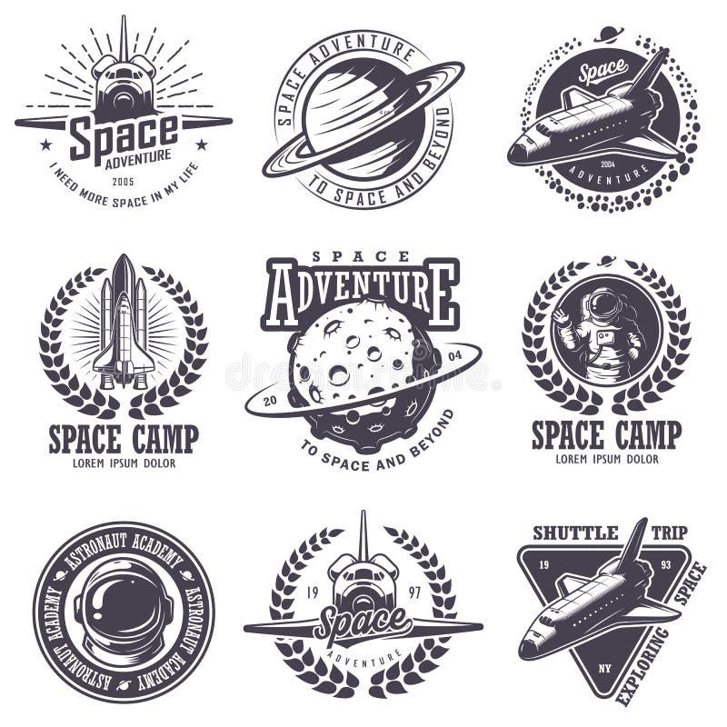 Uppsättning av tappningutrymme- och astronautemblem stock illustrationer