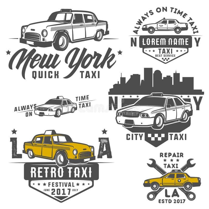 Uppsättning av taxibilen för emblem, logo och design stock illustrationer