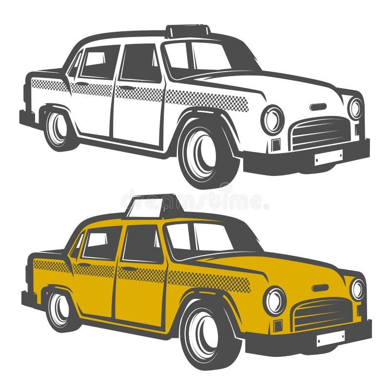 Uppsättning av taxibilen för emblem, logo och design royaltyfria bilder