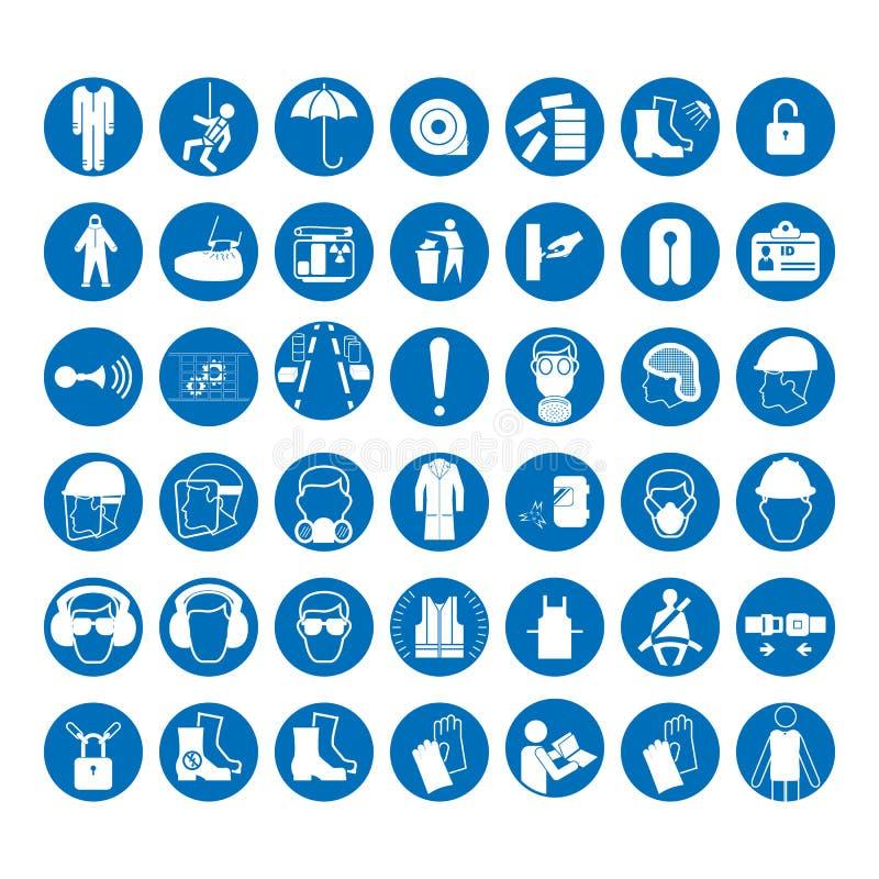 Uppsättning av tecken för säkerhet och för vård- skydd Obligatoriskt konstruktions- och branschtecken Samling av säkerhetsutrustn stock illustrationer
