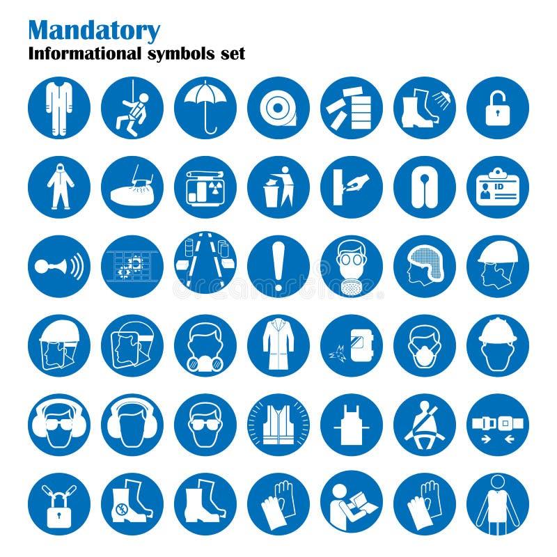 Uppsättning av tecken för säkerhet och för vård- skydd Obligatoriskt konstruktions- och branschtecken Samling av säkerhetsutrustn royaltyfri illustrationer