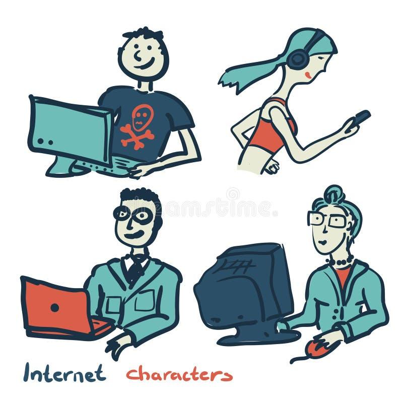 Uppsättning av tecken på temat av den internetteknologi och apparaten stock illustrationer