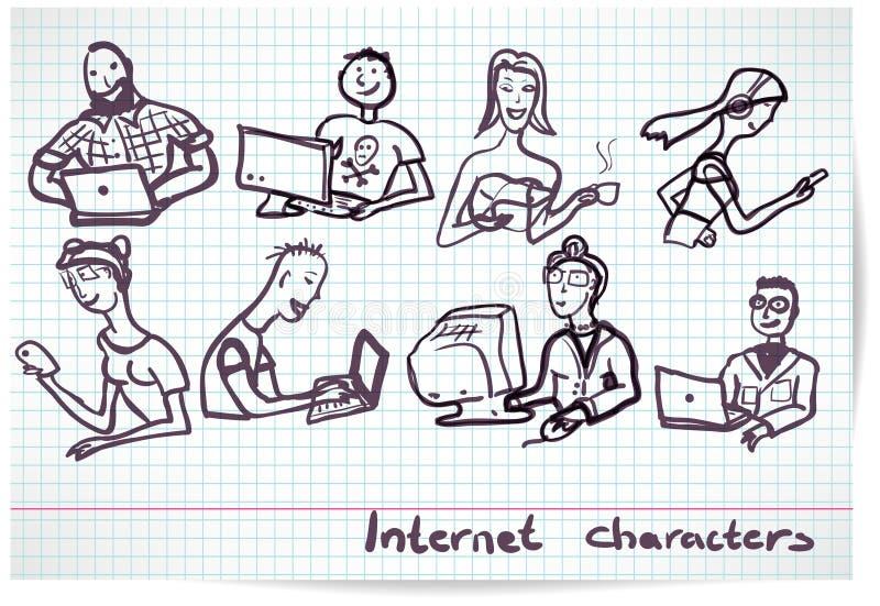 Uppsättning av tecken på temat av den internetteknologi och apparaten vektor illustrationer